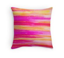 Welcome to Funky Town - Disco Inferno Dance Rainbow Stripes Abstract Watercolor Painting Throw Pillow