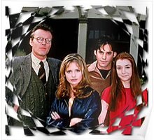 Buffy Cast Giles Xander Willow Poster