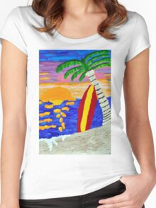 Surfer Sunset Women's Fitted Scoop T-Shirt
