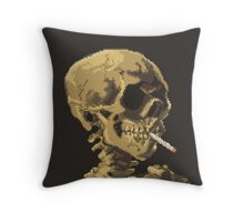 Van Gogh Pixel Art - Skull of a Skeleton with Burning Cigarette Throw Pillow