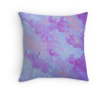 PURPLE PLUMES - Soft Pastel Wispy Lavender Clouds Lilac Plum Periwinkle Abstract Acrylic Painting  Throw Pillow