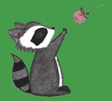 Just keep reaching.  Raccoon & Raspberry Kids Tee