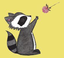 Just keep reaching.  Raccoon & Raspberry One Piece - Short Sleeve