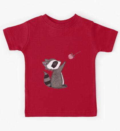 Just keep reaching.  Raccoon & Raspberry Kids Tee