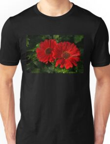 The Glorious Red Duo - Two Scarlet Gerbera Daisies  Unisex T-Shirt