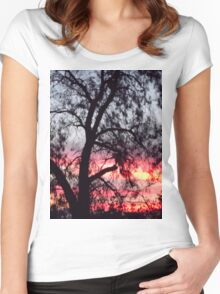 Sun setting behind desolate trees Women's Fitted Scoop T-Shirt