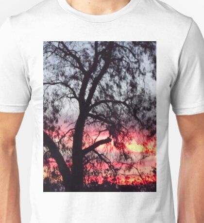 Sun setting behind desolate trees Unisex T-Shirt