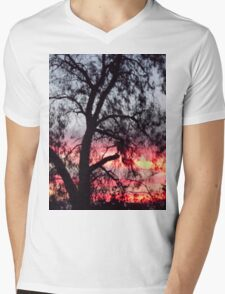 Sun setting behind desolate trees Mens V-Neck T-Shirt