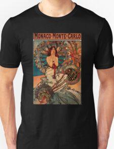 'Monaco' by Alphonse Mucha (Reproduction) Unisex T-Shirt