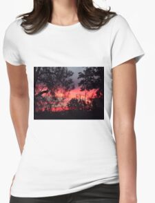 Sunset behind desolate trees 2 Womens Fitted T-Shirt