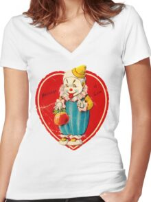 Vintage Valentine evil clown Women's Fitted V-Neck T-Shirt