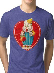 Vintage Valentine evil clown Tri-blend T-Shirt
