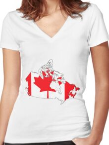Canada Map with Canadian Flag Women's Fitted V-Neck T-Shirt
