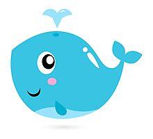 Happy underwater animal cartoon Illustration Photographic Print
