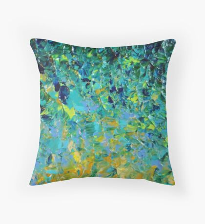 BEAUTY BENEATH THE SURFACE - Stunning Lake Ocean River Water Nature Green Blue Teal Yellow Aqua Abstract Throw Pillow