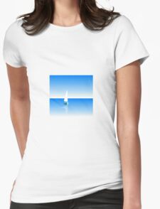 Boat on Calm Blue Sea - Green Boat Womens Fitted T-Shirt