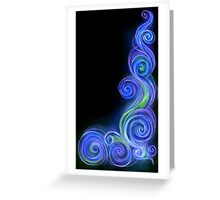 Blue Neon Wave Greeting Card