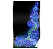 Blue Neon Wave Poster