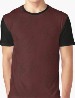 Subtle Dark Red and Black Floral Pattern Graphic T-Shirt