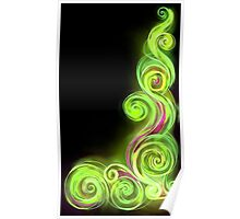 Lime Green Neon Wave Poster