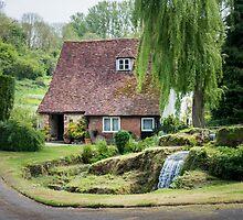 Cottage, Garden and stream by Sue Martin