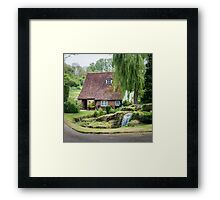 Cottage, Garden and stream Framed Print