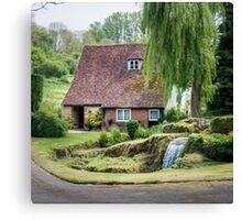 Cottage, Garden and stream Canvas Print