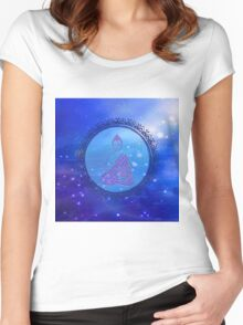 Cosmic Peace Buddha (blue) Women's Fitted Scoop T-Shirt