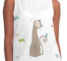 Whimsical Cat and Fish Contrast Tank