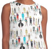 Bowie Scattered Fashion on White Contrast Tank