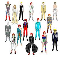 Bowie Scattered Fashion on White Photographic Print