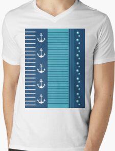 Trendy Blue White Stripes Nautical Design Mens V-Neck T-Shirt