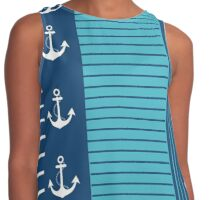 Trendy Blue White Stripes Nautical Design Contrast Tank