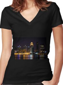 Louisville By Night Women's Fitted V-Neck T-Shirt