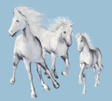 White Horses On The Beach Kids Tee
