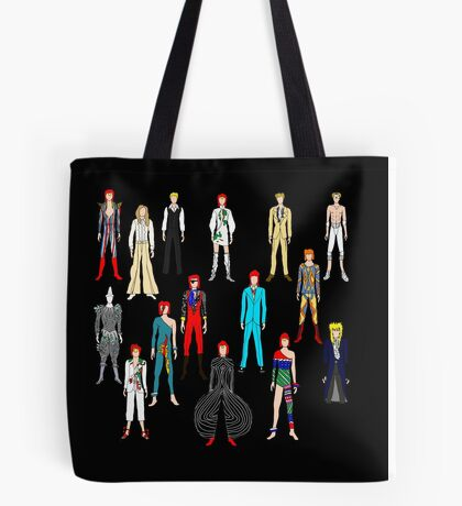 Bowie Scattered Fashion on Black Tote Bag