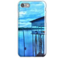rural fishing cabin by the lake in the morning iPhone Case/Skin