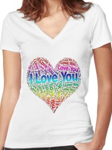 I Love You Rainbow Heart Women's Fitted V-Neck T-Shirt
