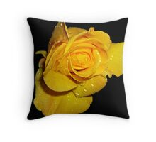 Beautiful Yellow Rose with Dew Drops Throw Pillow