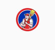 Janitor Cleaner Holding Broom Circle Cartoon Unisex T-Shirt
