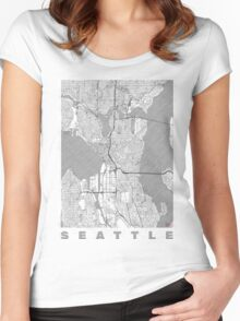 Seattle Map Line Women's Fitted Scoop T-Shirt