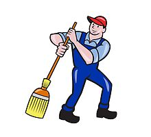 Janitor Cleaner Holding Mop Bucket Cartoon by patrimonio