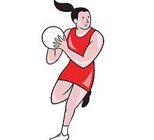 Netball Player Catching Ball Isolated Cartoon by patrimonio