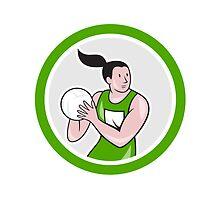 Netball Player Catching Ball Circle Cartoon by patrimonio
