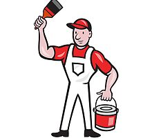 House Painter Holding Paint Can Paintbrush Cartoon by patrimonio