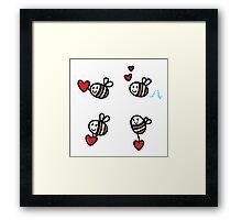 Doodle flying bee set Framed Print
