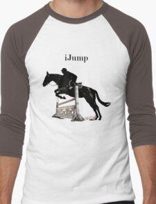 Cute iJump Equestrian Horse T-Shirt and Hoodies Men's Baseball ¾ T-Shirt