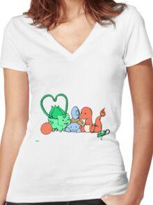 PokeAtsume Women's Fitted V-Neck T-Shirt