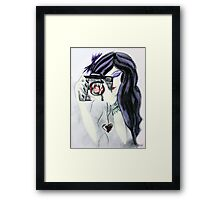 Violet the Vampire with Camera Pastel Drawing Framed Print