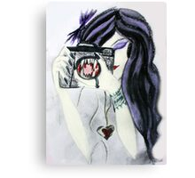 Violet the Vampire with Camera Pastel Drawing Canvas Print